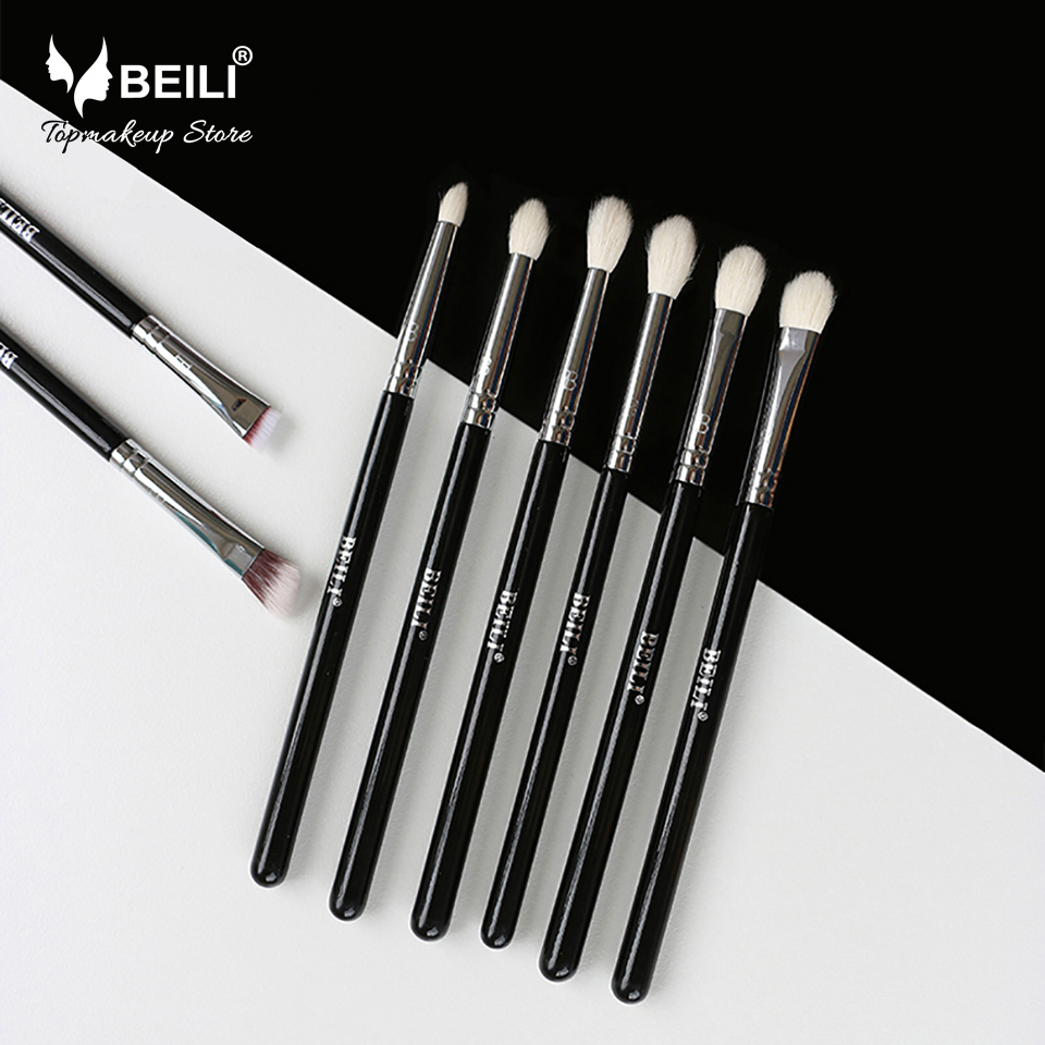 Intelligent Saiantth Eyes Advanced Shading Brush Goat Hair Kabuki Makeup Brushes Black Rattan Wound Professional Make Up Tool Maquiagem Slim Eye Shadow Applicator Makeup Tools & Accessories