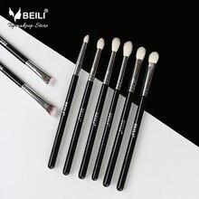 BEILI 8 шт. классический черный Pro Инструмент Коза синтетические волосы тени для век бровей смешивание дымчатый макияж кисточки комплект