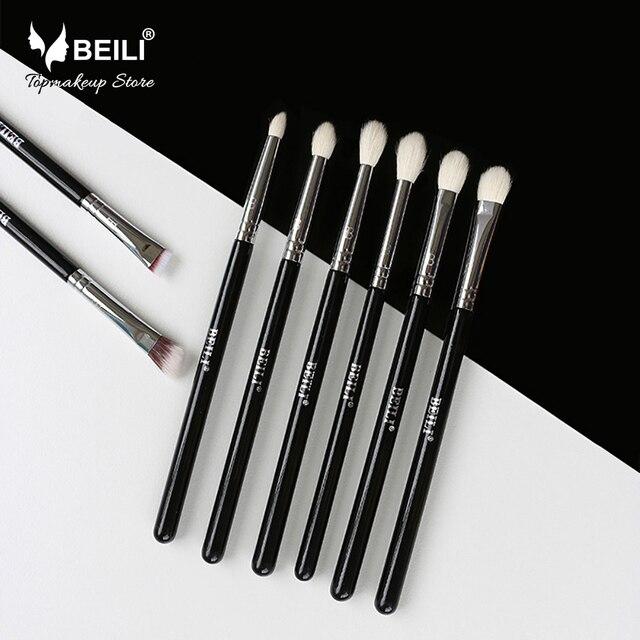 BEILI 8pcs Classic Black Pro tool Goat synthetic Hair Eye shadow Brow Blending smoky Makeup Brush Set