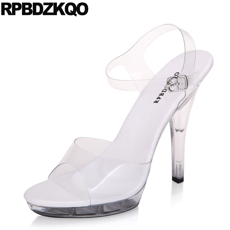 Shoes Plastic Glass 11 Sexy Women Stripper Stiletto Clear Strap Heels  Sandals Pumps Fetish Large Size Crossdressed Ankle High c9e19883fdcd