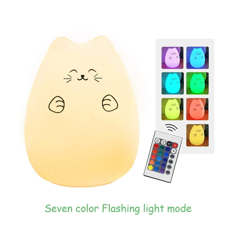 Remote Control Cat Lamp Silicone Kitty Night Light for Kids Toddler Baby Girls Rechargeable Cute Kawaii Nightlight Bedside Gift creative cute green cartom car led night light for children baby kids white warm white bedside lamp resin night lamp gift