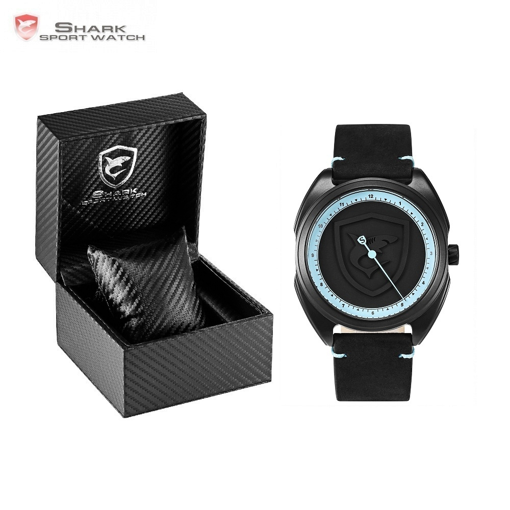 Luxury Gift Box Collared Carpet Shark Sport Watch 3D Dial Unique One Hour Hand Design Leather Band Quartz Men Watches /SH572-576