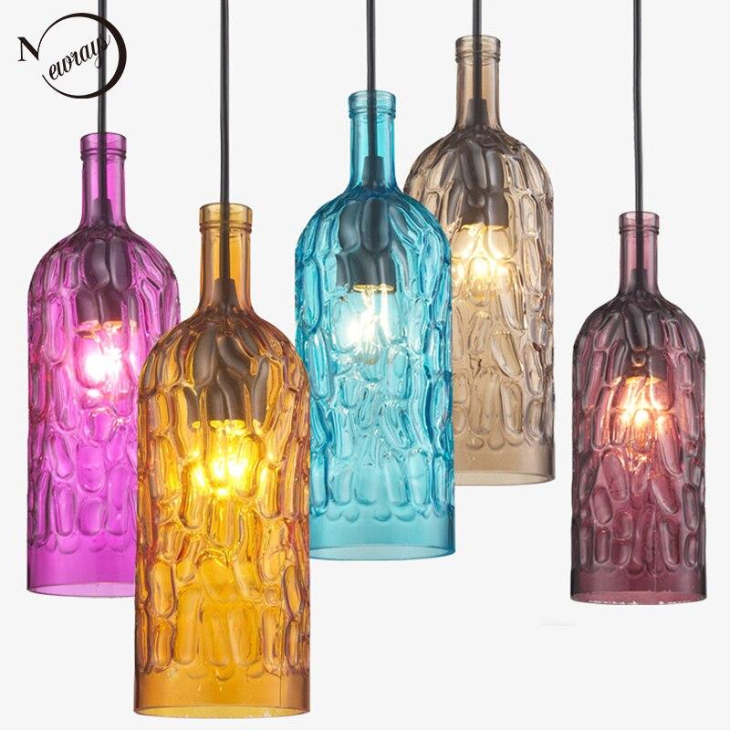 Loft moderno colorato winebottle Vetro Lampade a sospensione cavo E27 HA CONDOTTO LA lampada AC 110 v 220 v per la Cucina Ristorante Soggiorno cafe Bar
