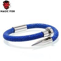 bracelet men/blue Stingray genuine leather stainless steel nail bracelets bangles Cuff bracelet for men Gifts Jewelry Christmas