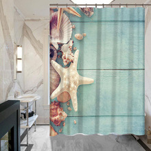 Starfish Printing Polyester Waterproof Shower Curtains Wholesale Bathroom Hotel Home
