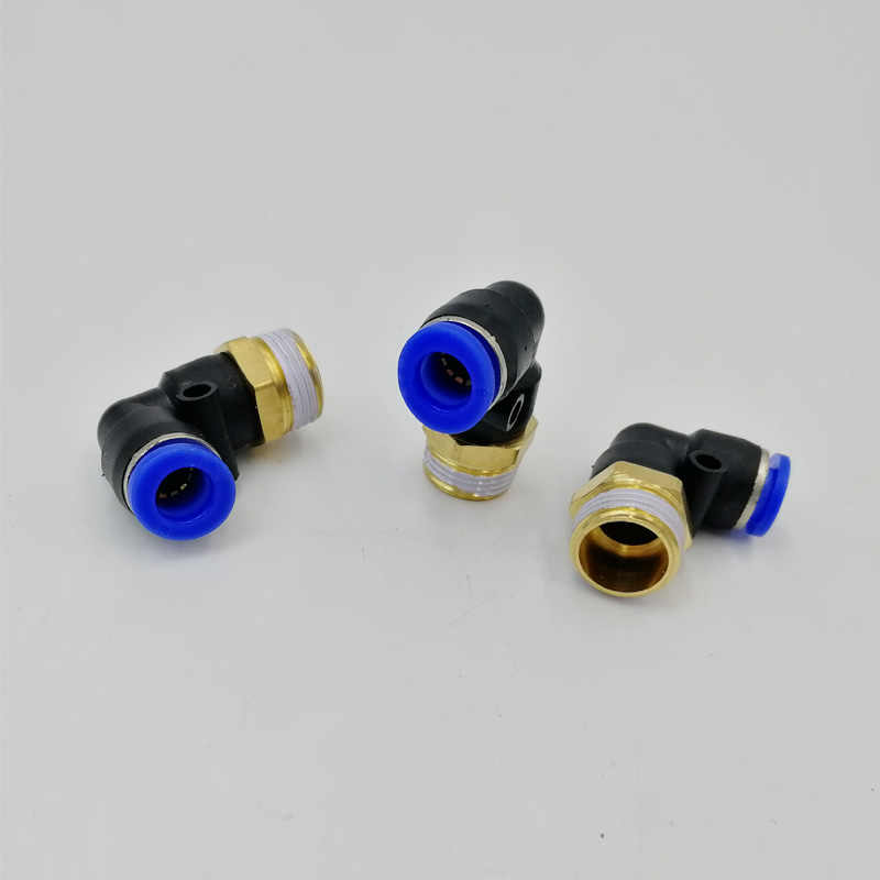 """PL8-03 Pneumatic Connector Fitting 8mm OD Air Hose Tube Push in 3/8"""" Male Thread L Shape Gas Quick Joint Fittings"""