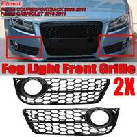 A Pair Car Front Bumper Fog Light Lamp Grille Grill Cover Mesh Honeycomb Hex For Audi A5 Coupe/Sportback 08 11 Cabriolet 10 11