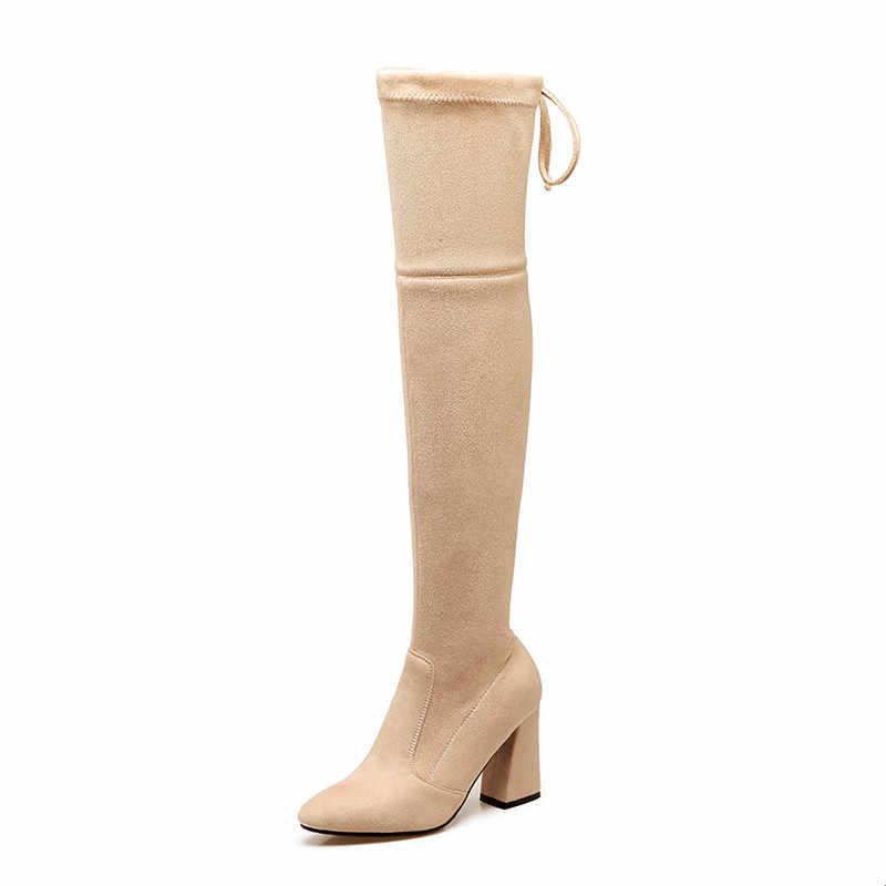 MORAZORA 2020 yeni boyut 34-46 diz çizmeler üzerinde kadın sivri burun streç çizmeler ince sonbahar kış yüksek topuk ayakkabı kadın