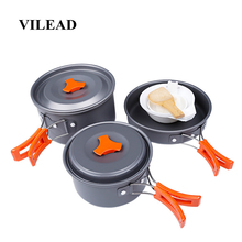 VILEAD Portable Camping Cookware Set Outdoor Hiking Cooking Bushcraft with Folding Pots Tableware Cutlery Utensils picnic set стоимость