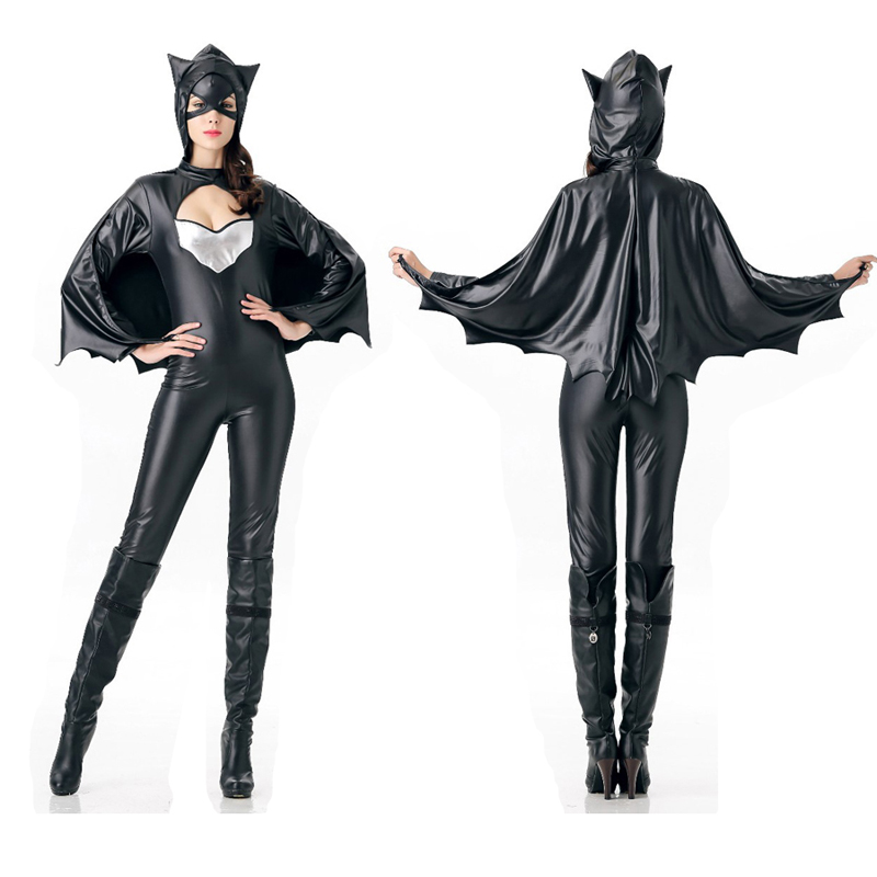 batman costume women black bat zentai suit sexy women party halloween costume ladies faux. Black Bedroom Furniture Sets. Home Design Ideas