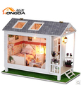 Christmas Gift Diy Doll House Miniature Model Building assembled Model Building Wooden Dollhouse Toy- Love love the beach house
