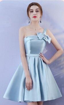 Blue Above Knee Mini Dress Women For Wedding Party  Bridesmaid Dresses Back Of Bandage
