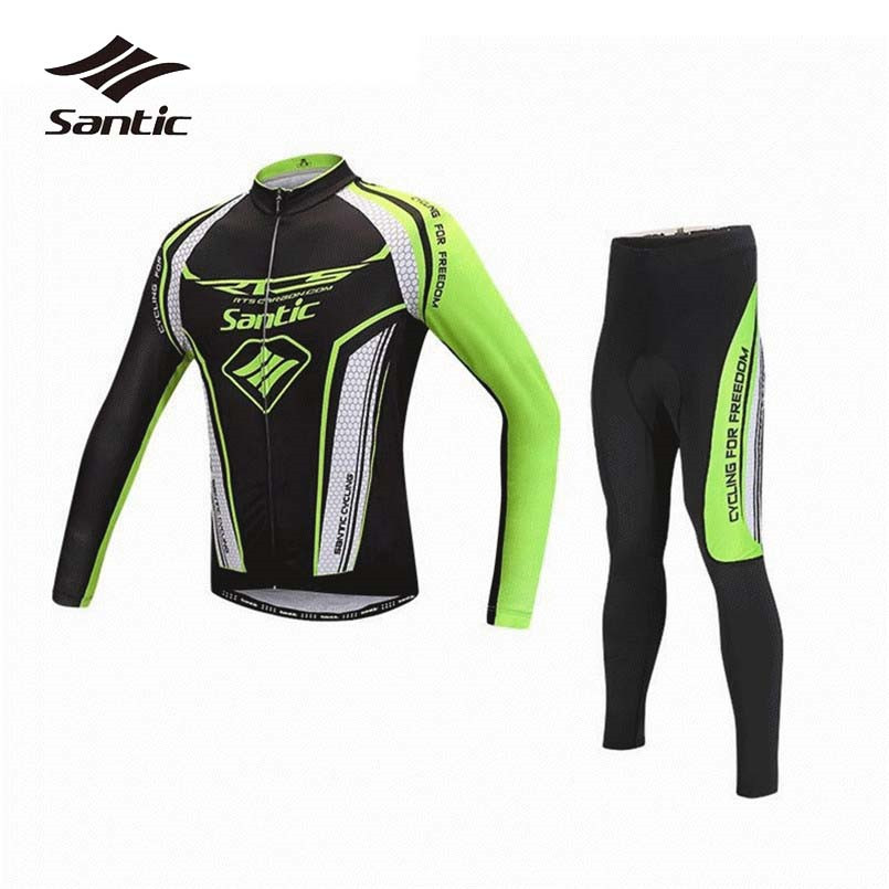 Santic Cycling Sets Men Long Sleeve Bicycle Sportswear Breathable Cycling Jersey Pro Racing Team 4D Padded Bike Pants Clothing