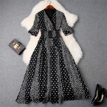 V Neck Polka Dot Chiffon Dress