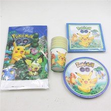 61pcslot Baby Shower Party Plates Cartoon Cups Pokemon Go Tablecloth Kids Favors Birthday Pikachu Napkins Decoration Supplies