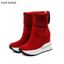 {Zorssar} Natural Cow leather Female Booties Women Ankle Sock Boots Platform Wedges High Heels Short Womens Shoes Winter
