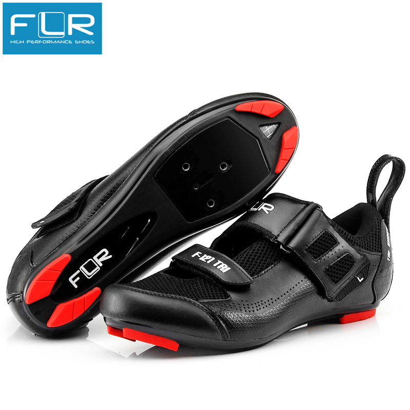 FLR triathlon shoes cycling road bike shoes men racing sneakers adult professional athletic breathable ultralight black