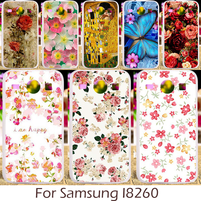 Akabeila Plastic Silicon Case For Samsung Galaxy Core I8260 I8262 GT-I8262 8260 GT i8262 8262 Cover Rose Peony Flower Patterns