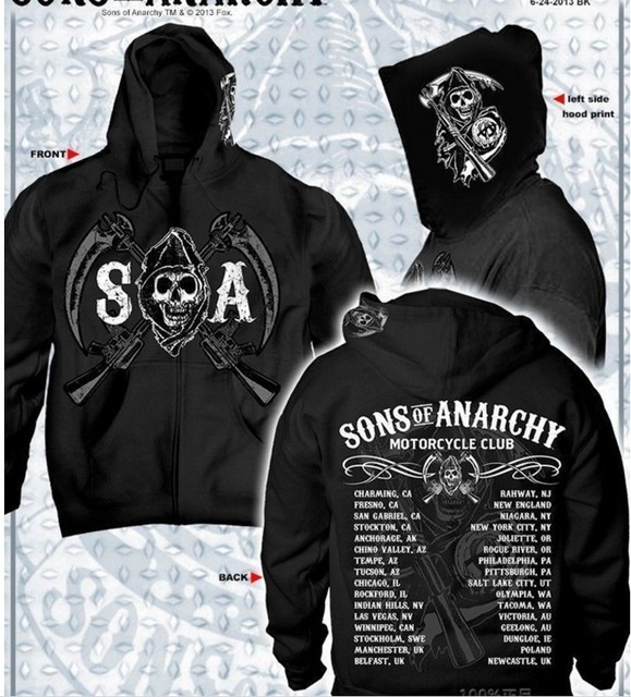 42cb0d6c1f99 SOA Сыны Анархии ребенка Новая мода 2018 SAMCRO для мужчин спортивная толстовки  мужской хип хоп с
