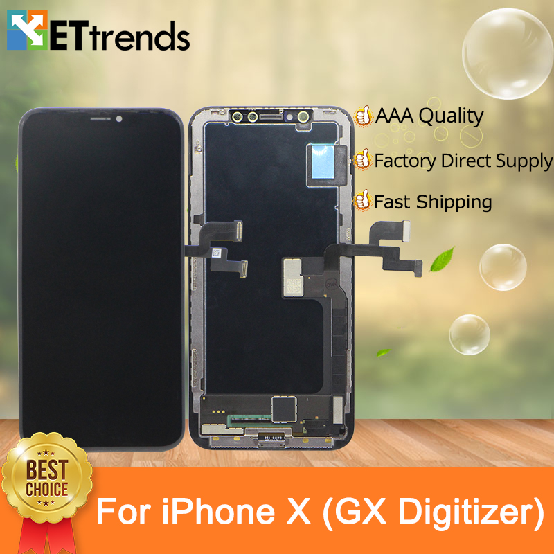 2PCS/lot Quality A+ GX OLED Screen Display For iPhone X Screen Digitizer Assembly Perfect Color with DHL Free Ship