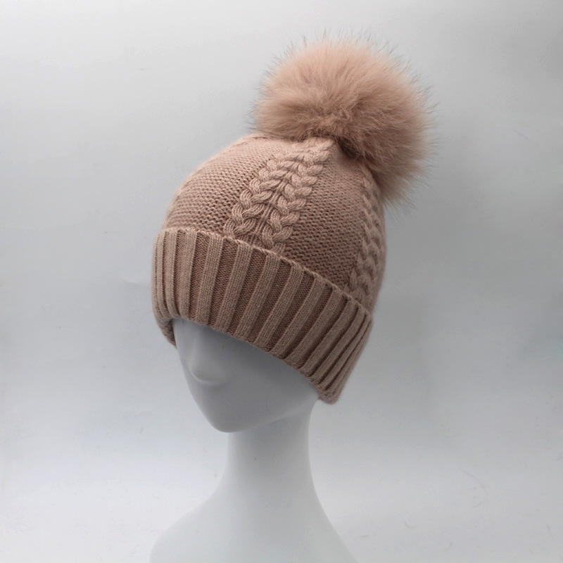 Luxury Lady Striped Wool Skullies Beanies Hats Fox Fur Pom Pom Hat Female Winter Warm Caps Fashion Headgear LF4062 skullies