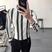2018 spring new long sleeved shirt male Korean vertical stripes Slim type trend wild handsome youth white shirt
