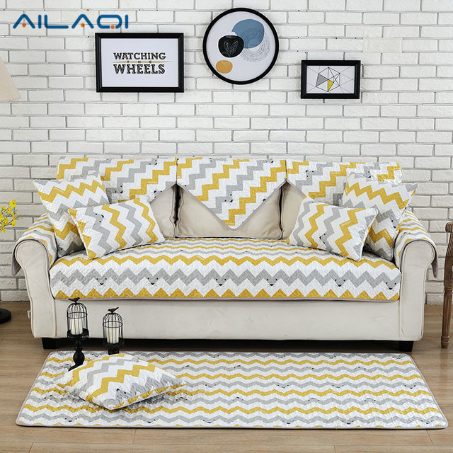 Ailaqi Modern Stripe Non Slip Sofa Couch Covers Creative Cute Cotton Cover For Living