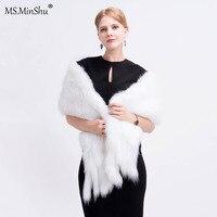 Ms.MinShu Drop Shipping White Fox Fur Shawl Hand Knitted Fox Fur Wrap Natural Fox Fur Scarf with Fringes Wedding Shawl