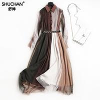 SHUCHAN רשת שמלת טלאים צבעוני אבנט רחוב גבוה באורך קרסול שמלות אביב תורו למטה צווארון 2018 Warly עבור נשים 1037