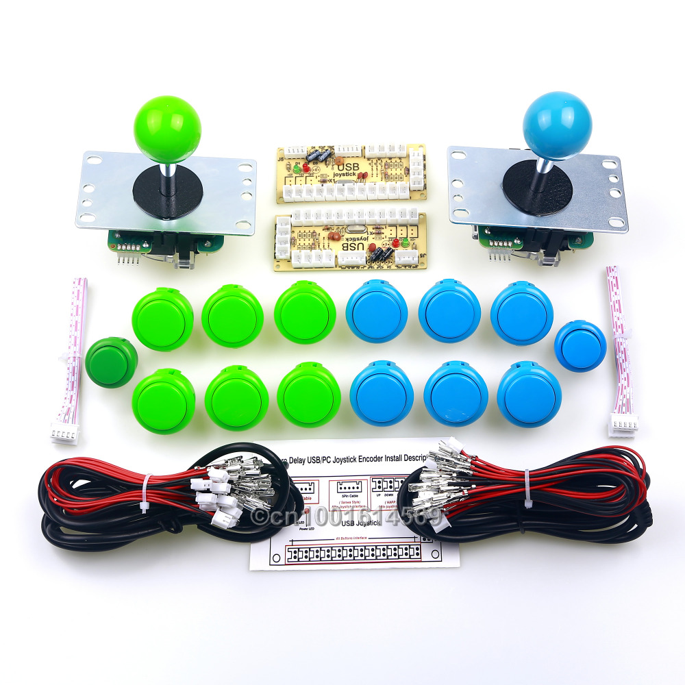 12 x 5V Japan SANWA Buttons & 2 x Reyann Arcade Buttons Wires + 2 x Sanwa Joystick Cable + 2 x PC Encoders Encoder For MAME Game arcade joystick diy kit usb encoder to pc ps2 ps3 arcade sanwa joystick sanwa push buttons for arcade mame
