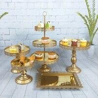5pcs/ set Gold Pink White Silver Wedding Dessert Table Wedding Decoration Cake Stand Tray Set mirror tray