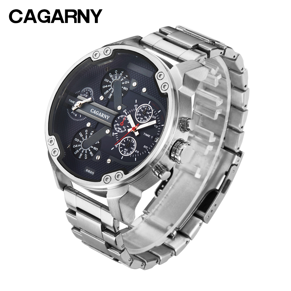 cagarny mens watches quartz watch men dual time zones big case dz military style 7331 7333 7313 7314 7311 steel band watches free shipping (2)
