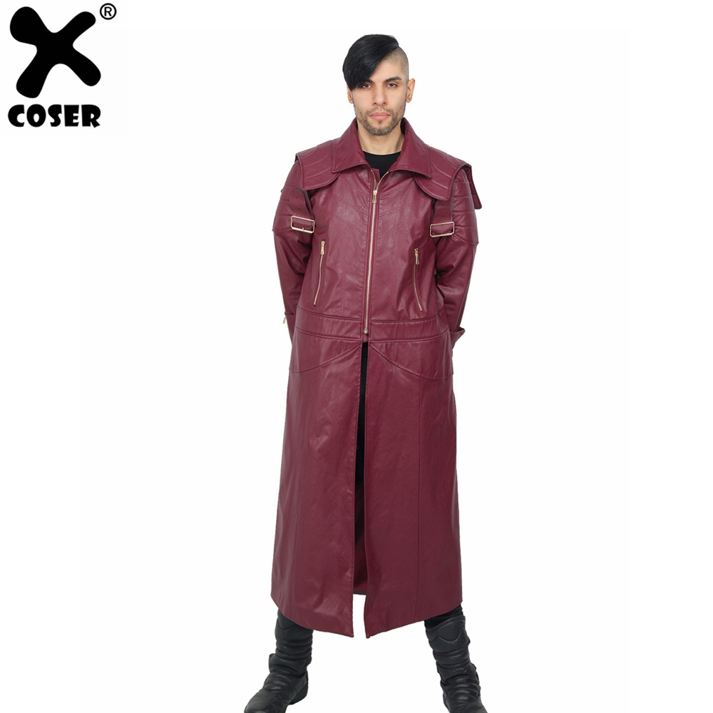 XCOSER 2019 New Hot Game Devil May Cry 5 Dante Overcoat Red PU High Quality Cosplay Costume Brand Sale Halloween Cosplay For Men