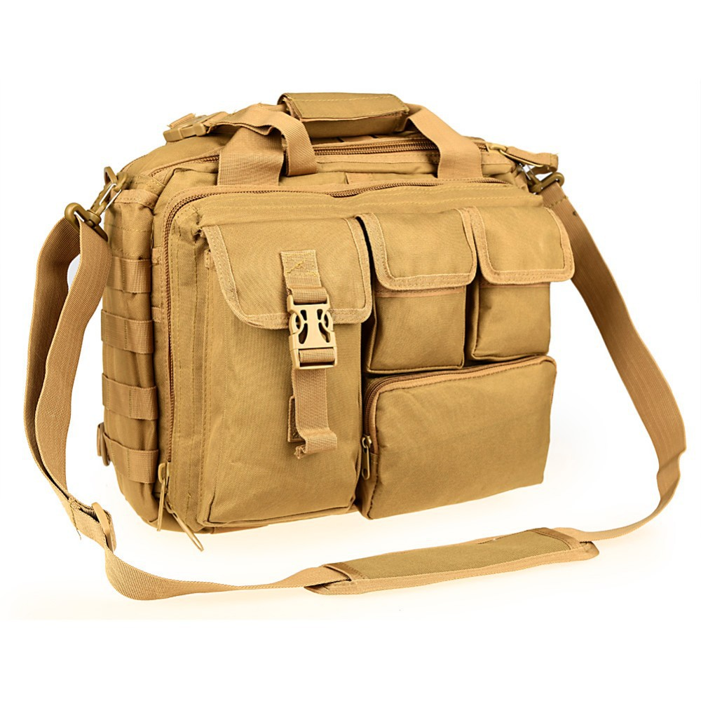 "Pro- Multifunction Mens Military Nylon Shoulder Messenger Bag Briefcase Large Enough for 14"" Laptop"