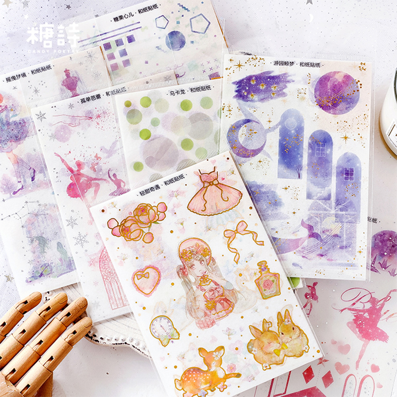 3 Pcs/lot Cartoon Dream Girl Washi Mini Paper Sticker Decoration Stickers DIY Diary Scrapbooking Planner Label Sticker
