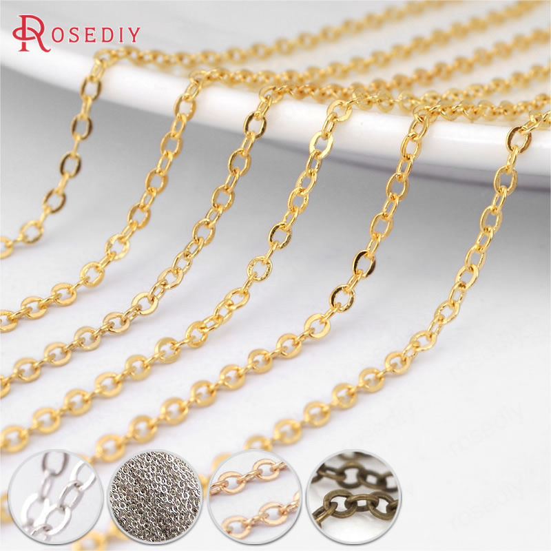 (13673)5 Meters Width 1.5MM Gold Color Plated Copper Necklace Chain Flat Oval Link Chains Jewelry Findings More Color Can Picked