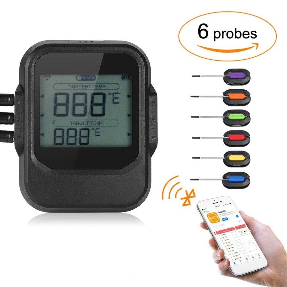 LED di Cottura Degli Alimenti Senza Fili Barbecue Termometro Con Sei Sonde Bluetooth App Controlnd Timer Forno a base di Carne Grill Termometro Da Cucina strumento