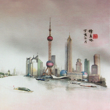 ShaoFu Silk Scroll Painting ShangHai Promotion Architectural Poster Famous Wall Pictures Chinese Traditional Gifts