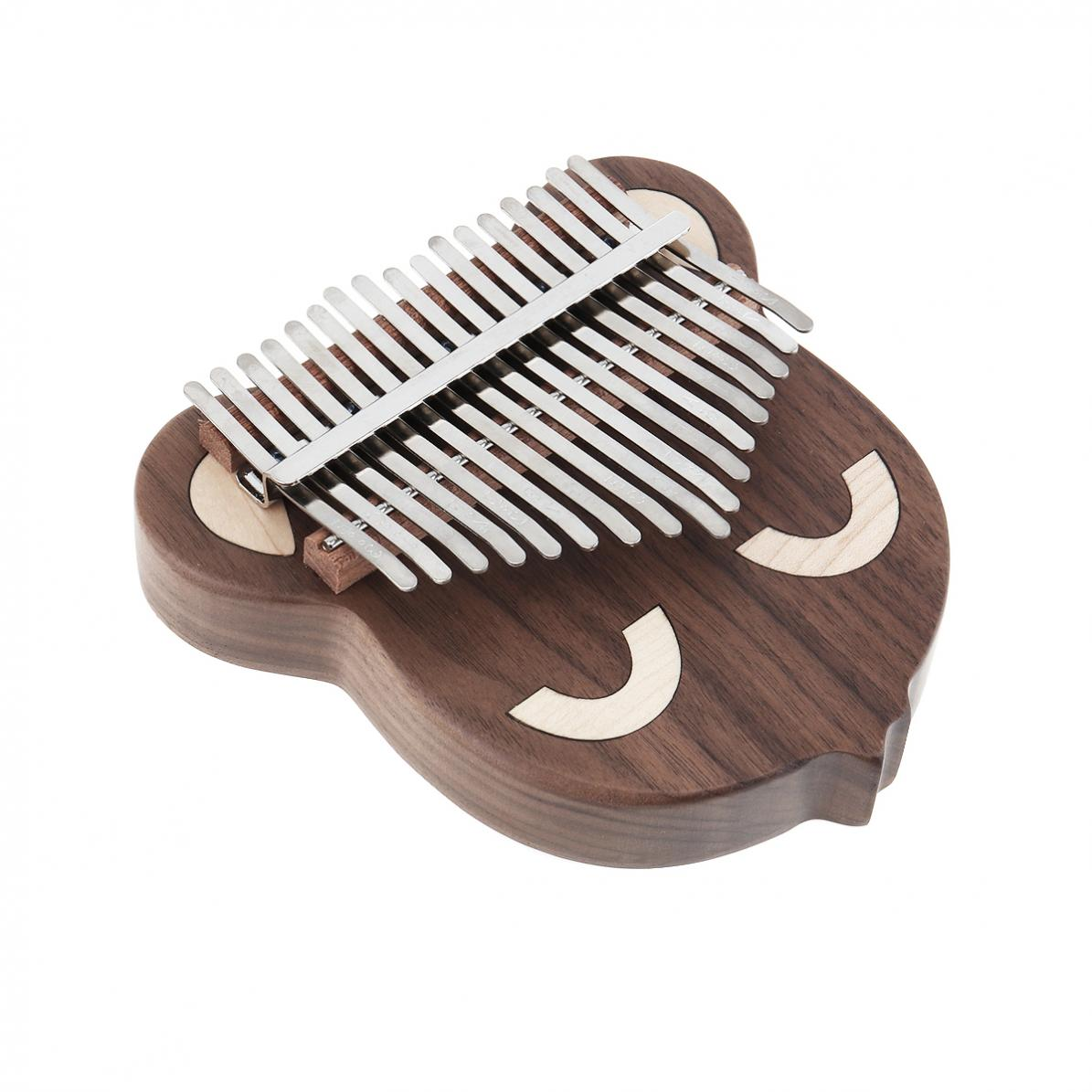17 Key Thumb Piano Kalimba Hele Single Board Kat/Bear Gezicht Walnoot Mbira Calimba met Tuning Hamer Hout Muzikale instrumenten - 4