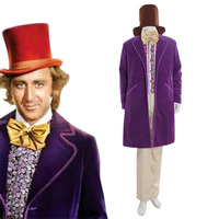 Чарли и шоколадная фабрика Джин Уайлдер, как Вилли Вонка 1971 фиолетовый куртка костюм на Хэллоуин Карнавальный костюм Косплэй