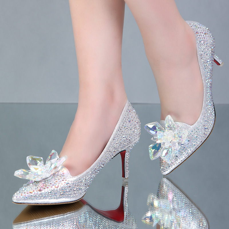 Cinderella Glass Pointed High Heels Crystal Silver Bottom Women Pumps Rhinestones Flowers Wedding Shoes Woman Ladies Bridal Shoe