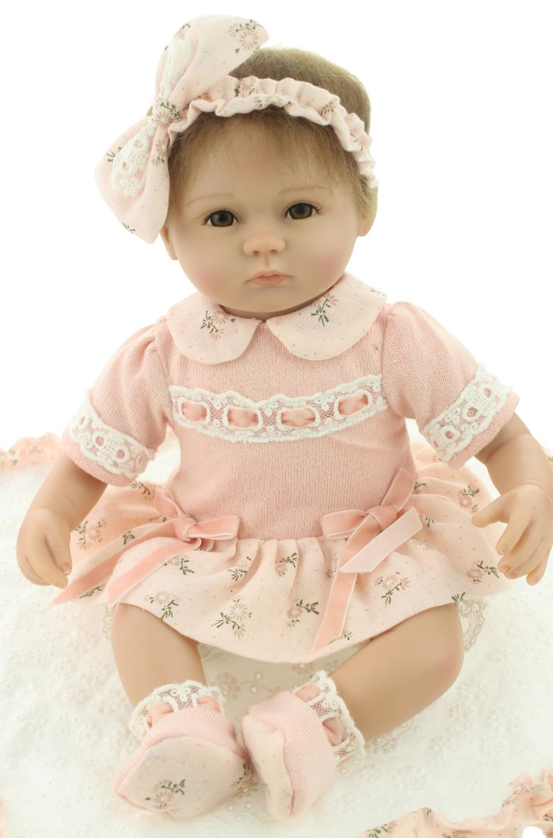 45cm Soft Silicone Newborn Dolls Pink Princess Baby Dolls Gift Handmade Doll Simulation Dolls Early Education Toyes with Clothes45cm Soft Silicone Newborn Dolls Pink Princess Baby Dolls Gift Handmade Doll Simulation Dolls Early Education Toyes with Clothes