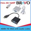 BrankBass 1080 P HDMI Мужчина к VGA Женский Video Converter Адаптер кабель Для Портативных ПК HDTV Проекторы и другие HDMI вход устройств