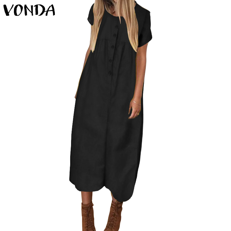 VONDA Casual Rompers Women Jumpsuits 2020 Vintage Short Sleeve Calf-Length Playsuit Wide Leg Pants Plus Size Overall Trousers