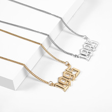 2019 New Gold Silver Color Old English Font Necklace Personalized Year Number Necklaces for Women Custom 1995 Birthday Gift