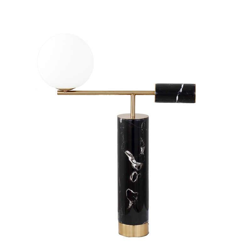 Модные европейские мраморные прикроватные настольные лампы для спальни украшения дома покрытый металл + стеклянный шарообразный абажур