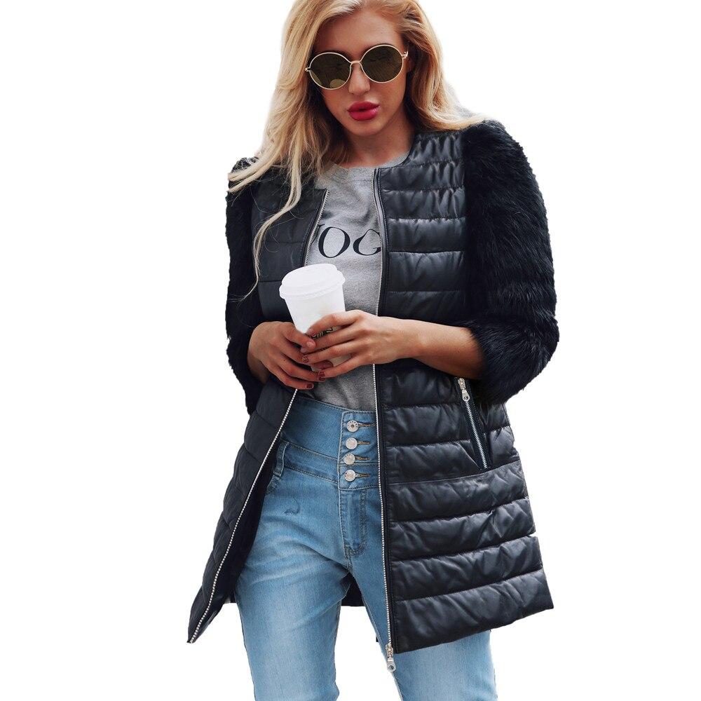 100% Wahr Chamsgend Hohe Qualität Frauen Mantel 2018 Winter Mode Damen Faux Fur Stitching Lange Mantel Frauen Zipper Leder Mantel Oc16