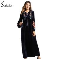 Siskakia Long Sleeve Velvet Maxi Long Dress Women Autumn Winter Flower Embroidery Warm Tunics Lace Up
