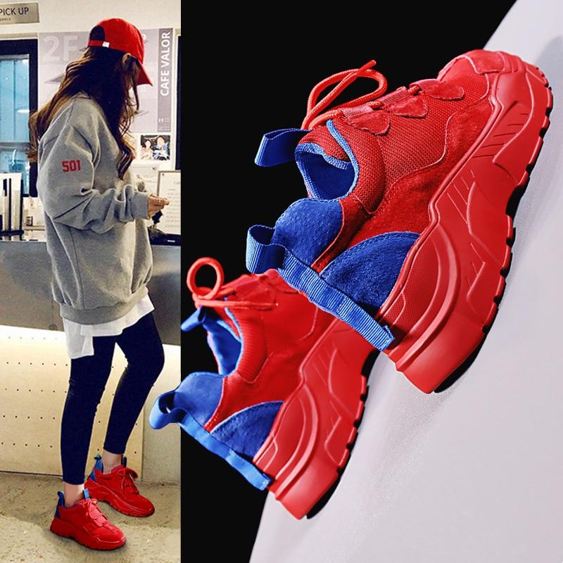 Fond red 2018 La Femme Chaussures Coréenne Tombent Humide Feu white Respirant Super Épais Nouvelle Torre Black Étudiants Joker 6bfgy7