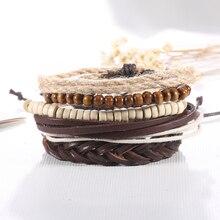 2016 new 1 Set 5 pcs men and women bracelet Beads rope Leather Bracelet Pack fashion jewelry wholesale